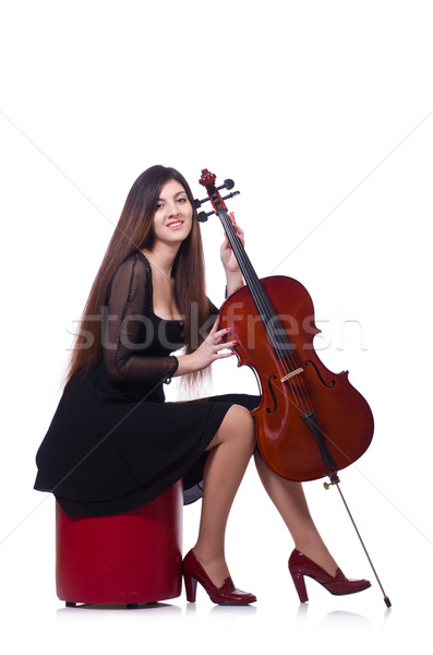 Stock fotó: Nő · játszik · hegedű · izolált · fehér · művészet