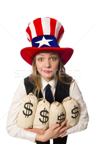 Сток-фото: женщину · деньги · изолированный · белый · счастливым · работу