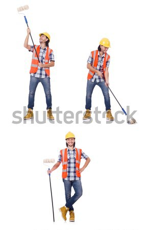 Young surveyor with tripod isolated on white Stock photo © Elnur