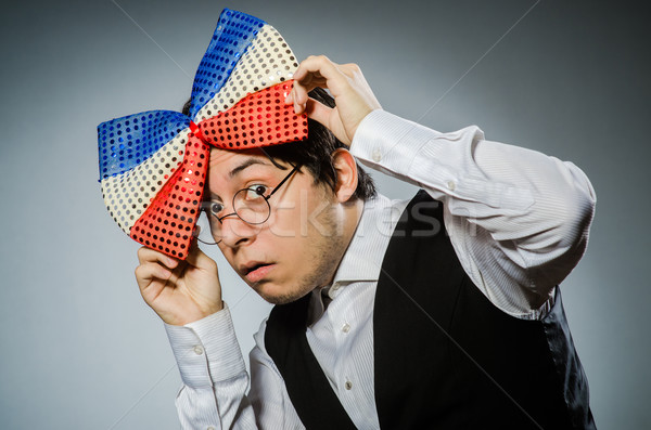 Funny man with giant bow tie Stock photo © Elnur