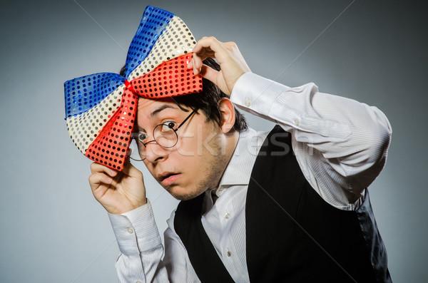 Vicces férfi óriás csokornyakkendő szemüveg jókedv Stock fotó © Elnur