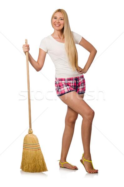 Stok fotoğraf: Genç · kadın · süpürge · yalıtılmış · beyaz · kadın · ev