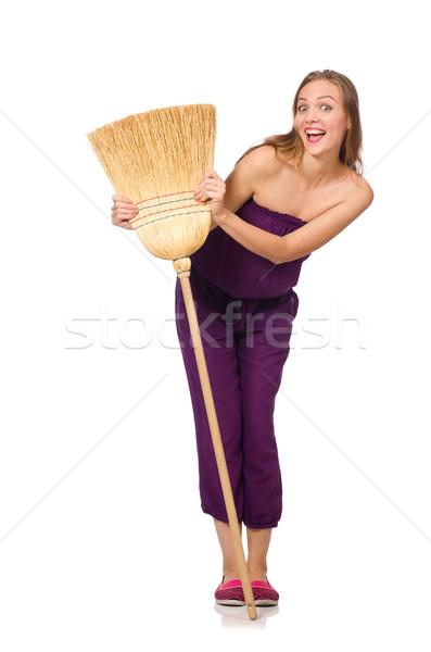 Huisvrouw bezem geïsoleerd witte vrouw haren Stockfoto © Elnur