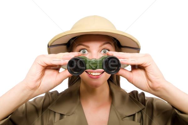 Kadın safari şapka beyaz spor Stok fotoğraf © Elnur