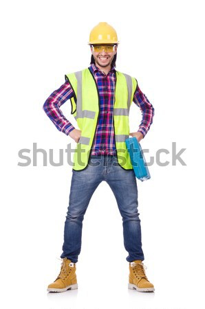 Young construction worker with toolbox isolated on white Stock photo © Elnur