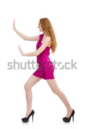 Nő izolált fehér lány modell labda Stock fotó © Elnur