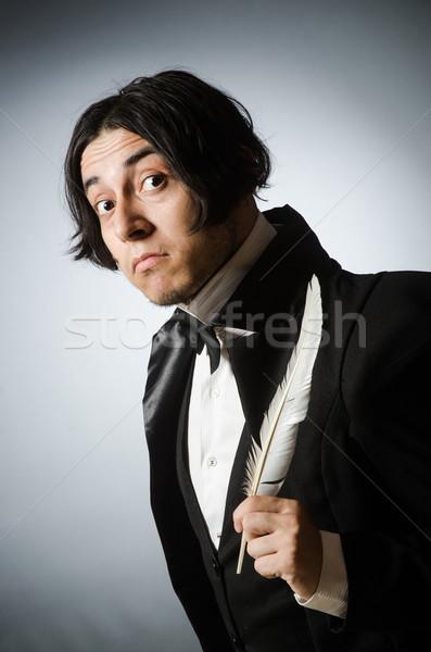 Funny Schriftsteller Jahrgang Papier Hand Mann Stock foto © Elnur