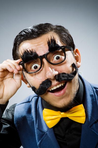 Foto stock: Engraçado · homem · escuro · trabalhar · empresário · terno