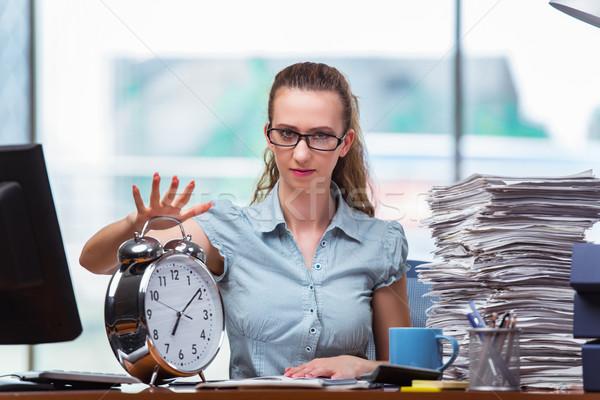 Vrouw zakenvrouw voldoen deadlines werk achtergrond Stockfoto © Elnur