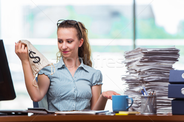 The businesswoman with money sacks in the office Stock photo © Elnur