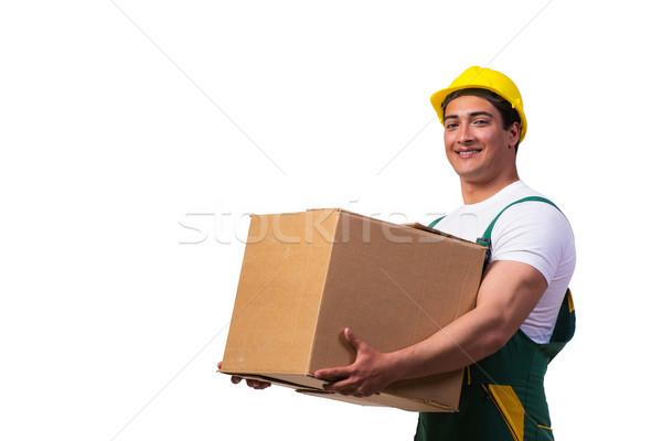 Férfi költözködő dobozok izolált fehér férfi fehér mosoly Stock fotó © Elnur