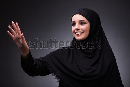 Stockfoto: Moslim · vrouw · zwarte · jurk · donkere · meisje · telefoon