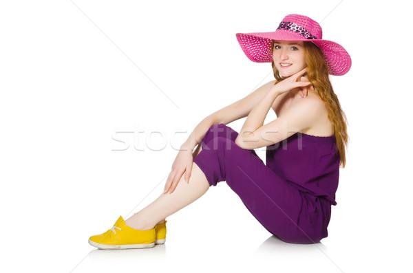 Pretty romantic girl in purple overalls isolated on white Stock photo © Elnur