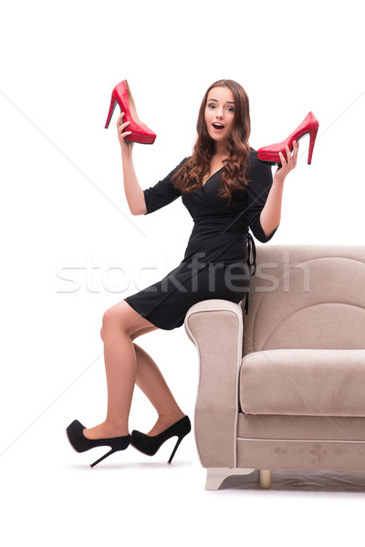 Vrouw moeilijk keuze schoenen huis glimlach Stockfoto © Elnur