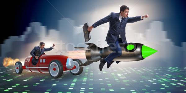 Concurrence gens d'affaires affaires vitesse drôle Photo stock © Elnur