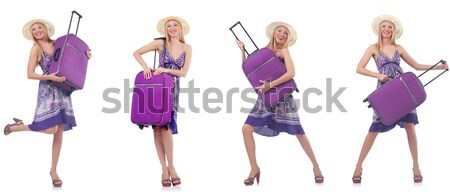 Tall model with giant sunglasses on white Stock photo © Elnur