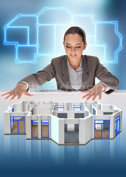 Designer dolgozik 3D futurisztikus lakás terv Stock fotó © Elnur