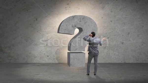 üzletember szemben kérdések üzlet felirat munkás Stock fotó © Elnur