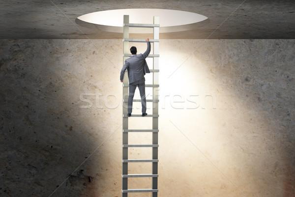 ストックフォト: キャリア · ビジネスマン · 登山 · はしご · 男 · 仕事
