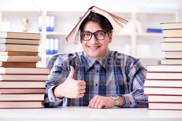 Nerd funny student uczelni egzaminy edukacji Zdjęcia stock © Elnur