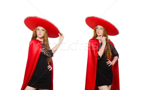Mexikói nő piros ruházat fehér boldog Stock fotó © Elnur