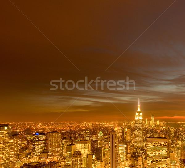 мнение Нью-Йорк Manhattan закат бизнеса небе Сток-фото © Elnur