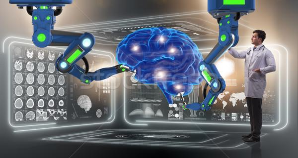 Brain surgery done by robotic arm Stock photo © Elnur