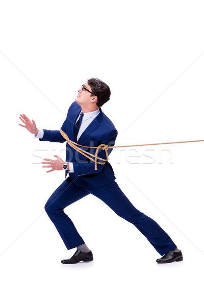Businessman caught with rope lasso isolated on white Stock photo © Elnur