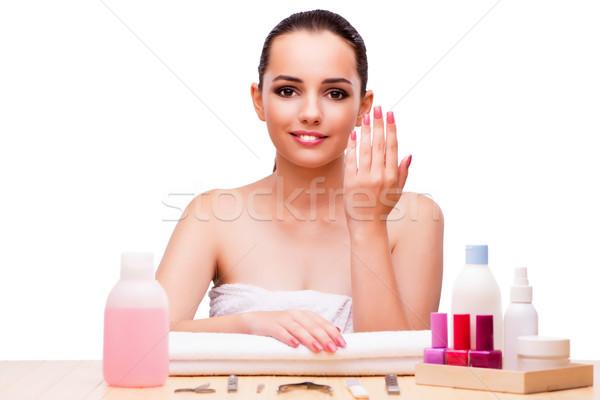 Fiatal nő szépség izolált fehér lány kezek Stock fotó © Elnur