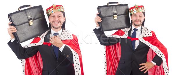 Króla biznesmen odizolowany biały zabawy pracownika Zdjęcia stock © Elnur