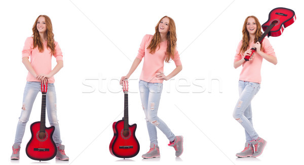 Stok fotoğraf: Genç · kadın · oynama · gitar · yalıtılmış · beyaz · kadın