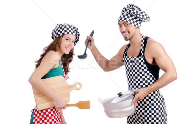 Pair of funny cooks on white Stock photo © Elnur