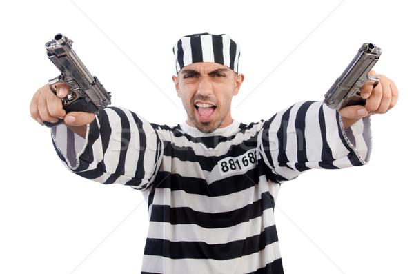 Stok fotoğraf: Tutuklu · tabanca · yalıtılmış · beyaz · hukuk · polis