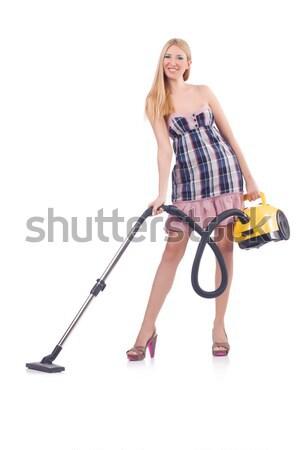 Fiatal nő porszívó fehér ház boldog munka Stock fotó © Elnur