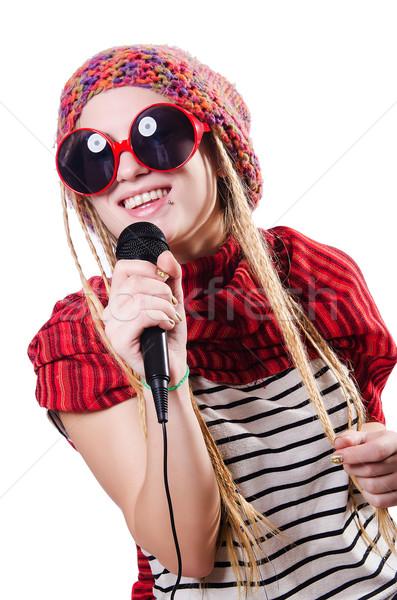 Genç kadın şarkıcı beyaz parti mutlu Stok fotoğraf © Elnur