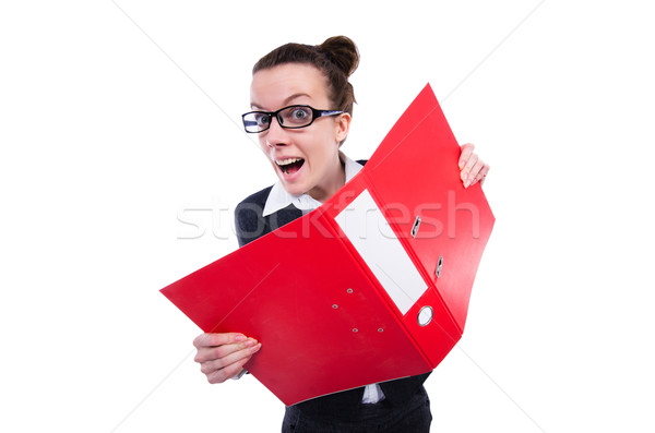 Stock photo: Funny businesswoman with red folder on white