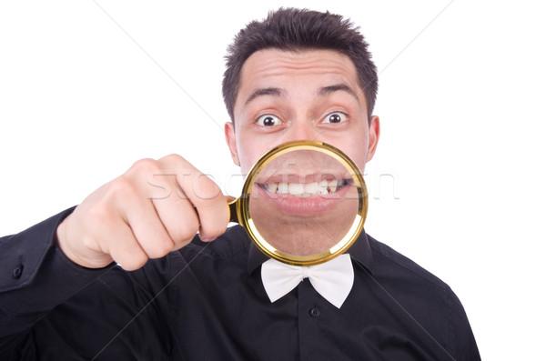 Komik adam göz yüz arka plan Stok fotoğraf © Elnur
