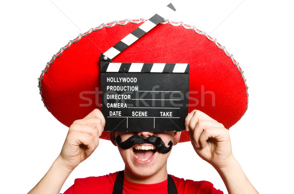 Funny mexican with movie board Stock photo © Elnur