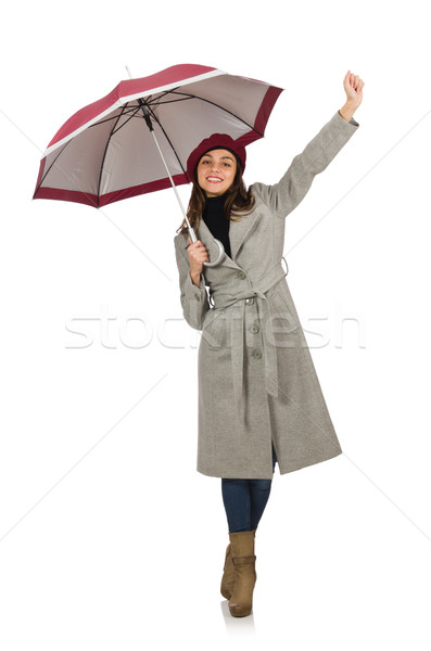 Woman with umbrella isolated on white Stock photo © Elnur