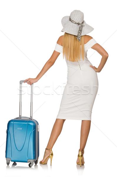 Mulher férias de verão isolado branco menina feliz Foto stock © Elnur