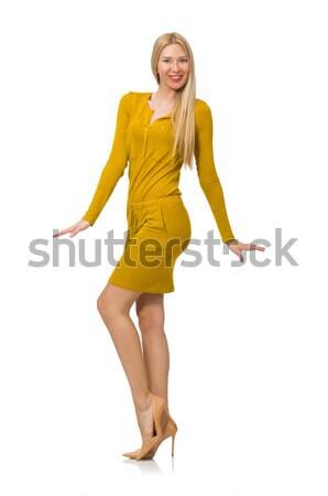 Pretty girl in ocher dress isolated on white Stock photo © Elnur