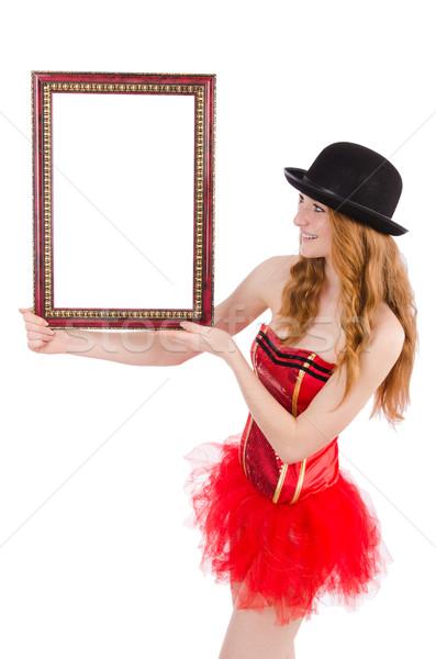 Stockfoto: Mooie · fairy · fotolijstje · geïsoleerd · witte · vrouw
