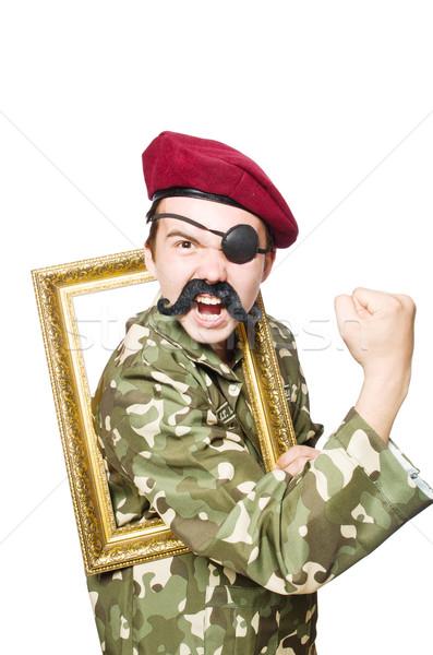 Funny żołnierz wojskowych człowiek zabawy policji Zdjęcia stock © Elnur