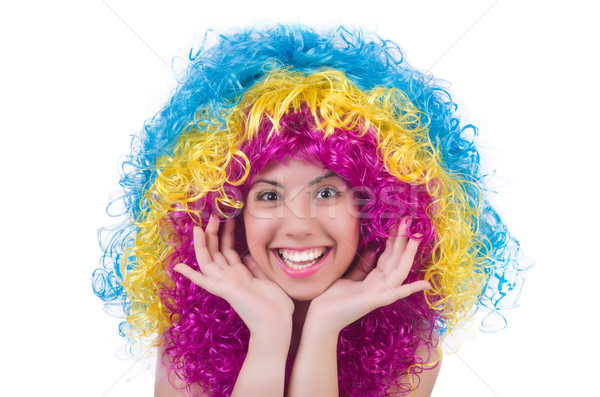 женщину парик изолированный белый модель Сток-фото © Elnur