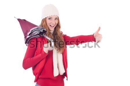 Woman in warm clothing isolated on white Stock photo © Elnur