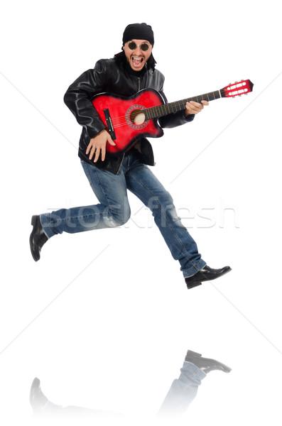 Gitarist geïsoleerd witte muziek partij gitaar Stockfoto © Elnur