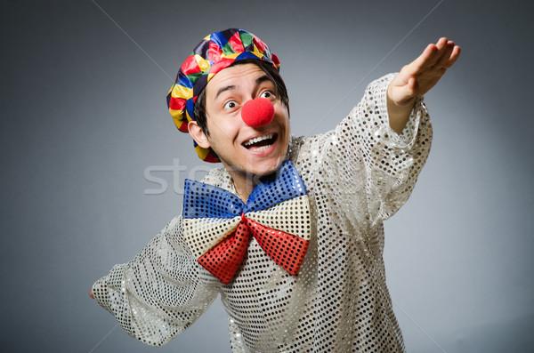 Grappig clown donkere glimlach gelukkig verjaardag Stockfoto © Elnur