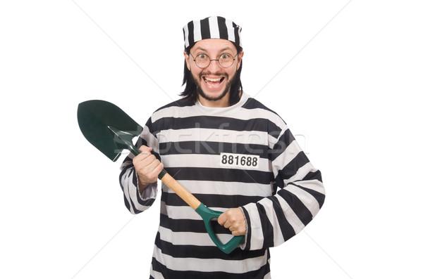 Więzienia więzień szpadel odizolowany biały prawa Zdjęcia stock © Elnur