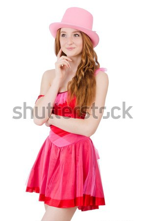 Pretty young wizard in mini pink dress isolated on white Stock photo © Elnur