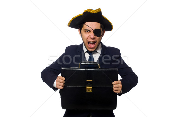 Young one eyed captain with briefcase isolated on white Stock photo © Elnur